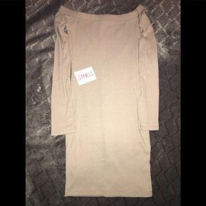 New fashion nova tan dress, size small